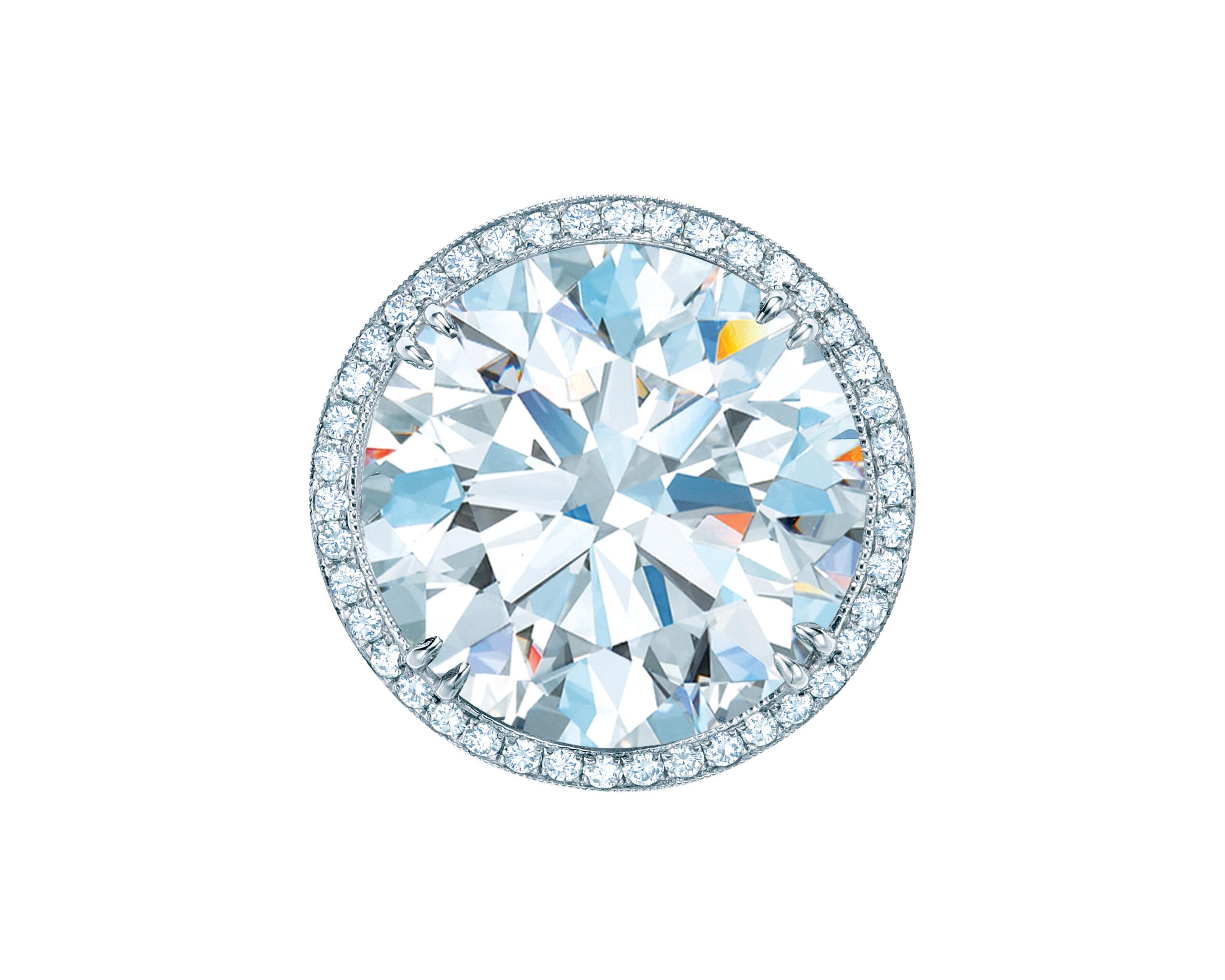 Tiffany round brilliant diamond ring in a diamond and platinum setting